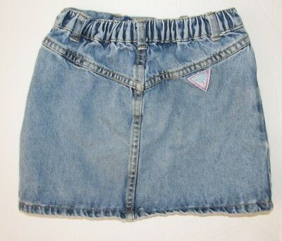 Vtg 90's GUESS Triangle Logo Made in the USA Denim Jean Mini Skirt Girls sz 6 Y