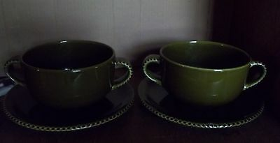 CRATE BARREL Eigen Double Handled Soup Bowls and Plates OLIVE GREEN Portugal