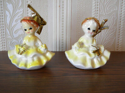 Two Vintage Hand painted Yellow Girl Napkin Rings