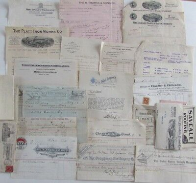 Lot Antique Receipts Letter Head South Bend Chill Plow Empire Mowers Gale Mfg Co