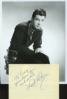 Lash Larue Western Actor Noted For His Whip. Vintage Signature & Photo