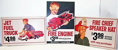 Vintage Original TEXACO Toys Tin Signs Gas Station Fire Engine Jet Fuel Truck