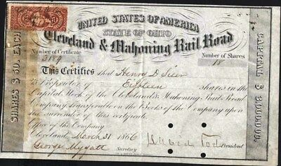 Cleveland & Mahoning Rail Road, Ohio, 1866, With Affixed Revenue Stamp