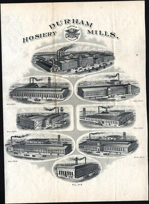 Durham Hosiery Mills Pictured On Reverse Of Letter From Company Dated 1917