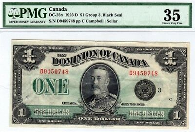 1923 Dominion of Canada $1 Group 3, Black Seal, DC-25n, PMG VF35, S/N D9459748