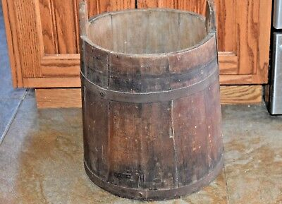 Antique Piggin Bucket Firkin Wood Slates Metal Bands Early Primitive Farm Pail