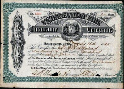 Connecticut Fire Insurance Co, Hartford, Conn., 1885, Cancelled Stock Cft.