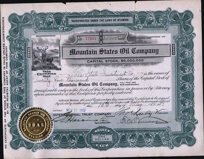 Mountain States Oil Co., 917, Wyoming, Uncancelled, (1Inch Split Top Left Fold0
