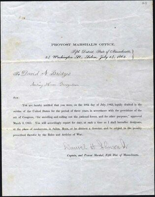 Civil War Draft Notice, 1863 Issued By Provost Office, Salem, Mass. Excellent