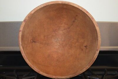 Antique Primitive Dough Butter Bowl Large Wood Wooden Vintage Farm House Prim