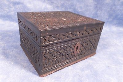 Beautiful Antique Indian Carved Ebony Cigarette Box, Floral Lattice & Lock