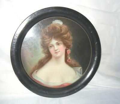 """Antique 13 1/4"""" Victorian Lady Beer Serving Tray Tin Litho """"marianne"""""""