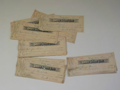 30 Antique Checks 1887 Decatur National Bank Indiana Smith & Bell Paper Money NR