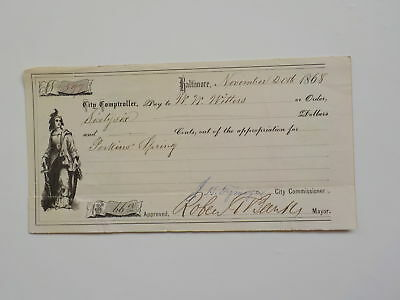 Antique Check 1868 Mayor Baltimore Woman Sword Maryland Paper Money VTG Old USA