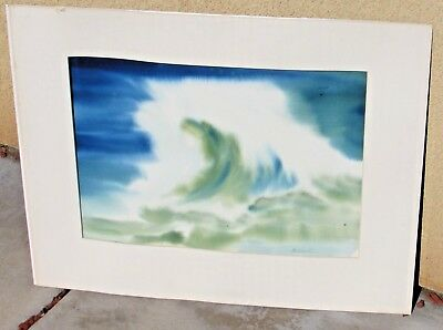 Langdon California Modernist Wave 1980 watercolor or mixed media