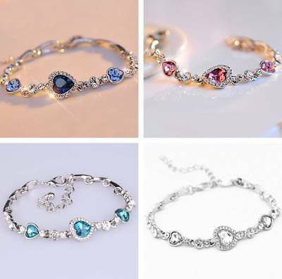 Women Crystal Rhinestone Silver Plated Charm Bracelet Bangle Fashion Jewelry