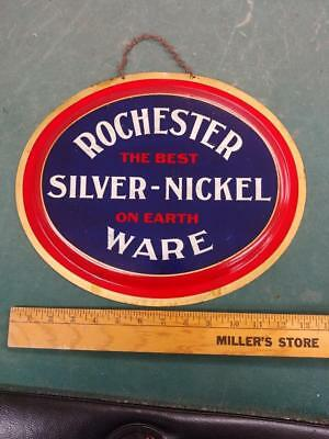 VINTAGE ROCHESTER SILVER-NICKEL WARE OVAL TIN LITHO 'CHARGER' SIGN-11x14-NICE!!