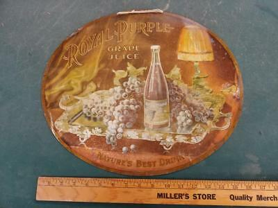 EARLY 1900s VINTAGE ROYAL PURPLE GRAPE JUICE OVAL TIN LITHO 'CHARGER' SIGN-14x17