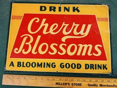 EARLY 1900s VINTAGE CHERRY BLOSSOMS DRINK EMBOSSED TIN LITHO STOUT SIGN-13x19!!