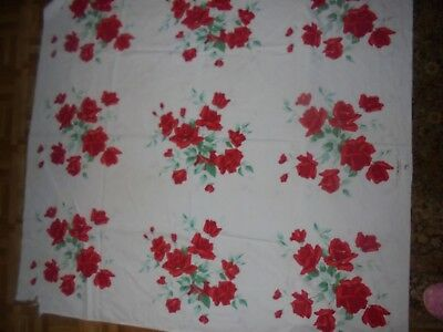 LOT 2 VINTAGE CUTTER? TABLECLOTH YELLOW & RED ROSES re-purposing