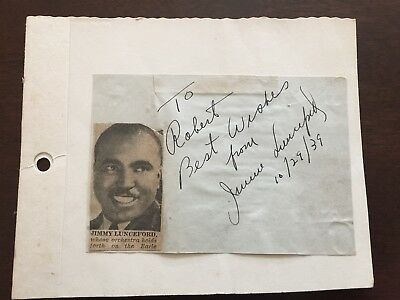 """RARE Jazz  Item:  JIMMIE LUNCEFORD autographed paper + photo .. dated """"10/29/39"""""""
