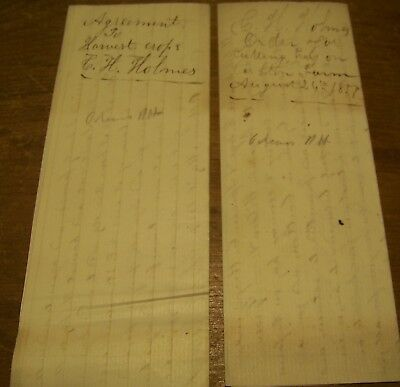 1857 Lot Of 2 Antique Albion Ny Farm Hay Cutting Receipt Contract Holmes Dye Doc