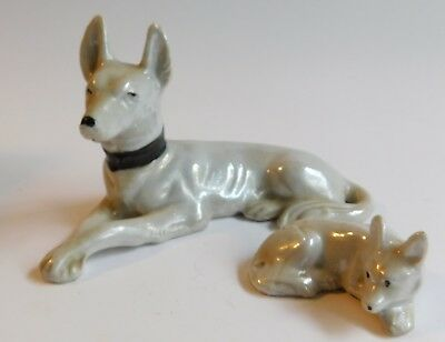 Vintage MidCentury Basenji Dogs Made In Japan Hand Painted Porcelain Figurines