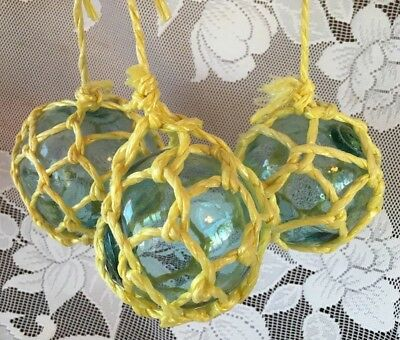 "Set Of 3 Japanese Blue-Green Blown Glass 3"" Fishing Net Floats Synthetic Netting"