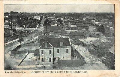 VINTAGE POSTCARD BIRDSEYE VIEW FROM COURTHOUSE WEST McRAE GEORGIA 1908 McGEE BRO