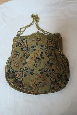 Antique Handmade Petit Point Needlepoint Tapestry Purse With Ornate Frame