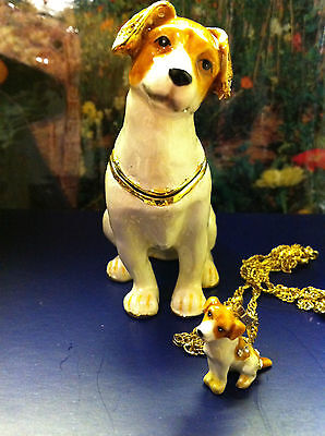 Jill The Jack Russell ~ Bejeweled Box & Matching Necklace #62583