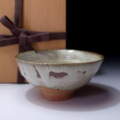 FF7: Vintage Japanese Pottery Tea bowl, Seto ware with wooden box
