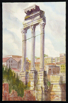 1800s D. PIGRA Italy Painting TEMPLE CASTOR & POLLUX Rome Grand Tour Watercolor