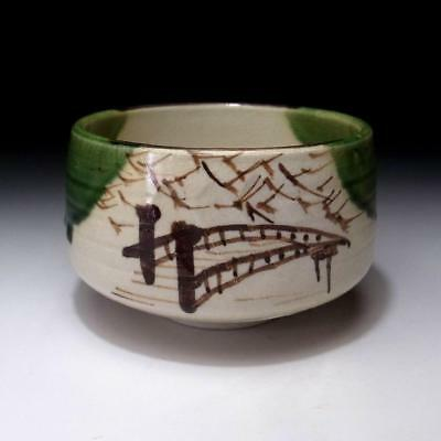 GO6: Vintage Japanese Hand-painted Pottery Tea bowl, Oribe ware, Bridge