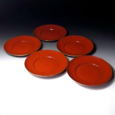 """EC8: Vintage Japanese 5 Lacquered Wooden Tea Plates, Natural wood, Dia. 7.1"""""""
