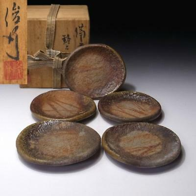 FK6: Vintage Japanese Pottery Tea plates, Bizen Ware with Signed wooden box