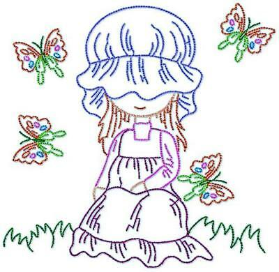 Sunbonnet Color Line 20 Machine Embroidery Designs Cd 2 Sizes Included