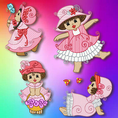 African American Sunbonnet 10 Machine Embroidery Designs Cd 4 Sizes Included