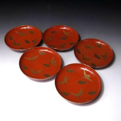 GA1: Vintage 5 Japanese Lacquered Wooden Tea Plates, MAKIE
