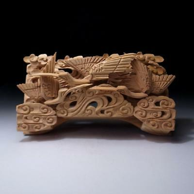 AA7: Japanese Small Hand Carved Wood Sculpture, Buddhist alter, Ranma, Crane
