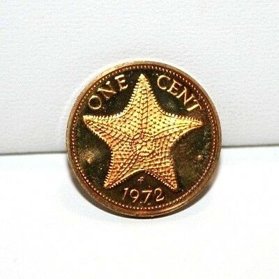 1972 FM Bahamas 1 One Cent Proof Coin KM 16 Starfish