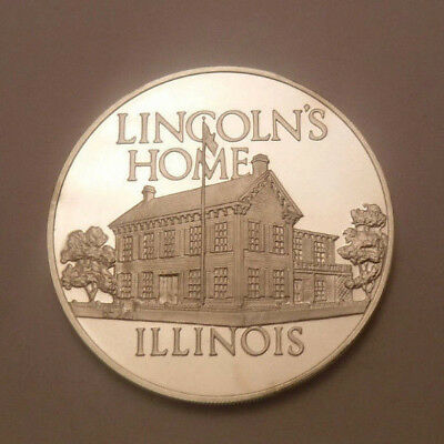 Illinois Lincoln's Home Franklin Mint 925 Sterling Silver Art Round Medal Proof