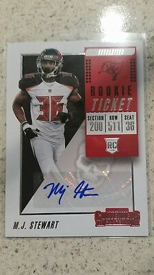 MJ Stewart M.J. 2018 Panini Contenders Autographed Auto RC Buccaneers