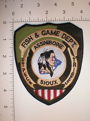 MT Montana Ft Peck ASSINIBOINE Indian tribe Tribal Police Fish Game WARDEN patch