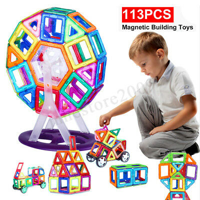 113pcs/set All Magnetic Building Blocks Construction Toys Kids Educational Gift