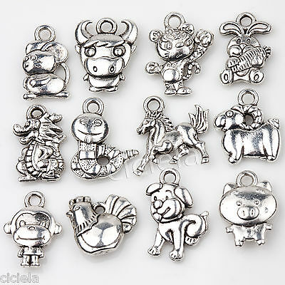 24Pcs Silver Chinese Zodiac Dangle Charms Beads Bracelet DIY Jewelry Acces