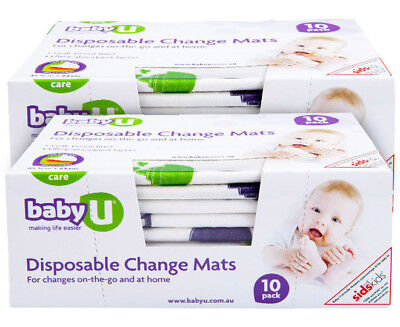 2 x Baby U Disposable Change Mats 10-Pack