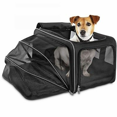 Good2Go Expandable Pet Carrier Size Large Colors Black on Black With Gray