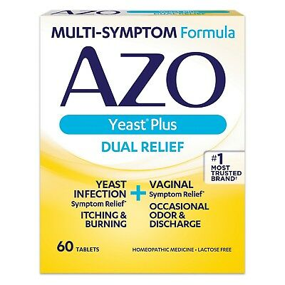 New Azo Yeast Plus Dual Relief Yeast Infection Symptom Relief Tablets 60 Ct.