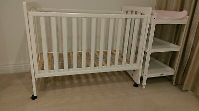 Baby cot and mattress and change table